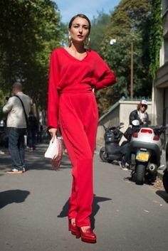 Street Style, Paris: Ulyana Sergeenko, Anya Ziourova and Vika Gazinskaya champion Russian style outside the shows   PERFECT! I love red