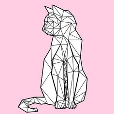 Origami Art Illustration Geometric Animal 42 Ideas For 2019 Chat Origami, Origami Art, Geometric Drawing, Geometric Animal, Geometric Cat Tattoo, Tattoo Abstract, Geometry Tattoo, Dog Tattoos, Tattoo Cat
