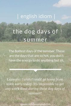 English idioms. Where I live it's definitely the dog days of summer. How about you?