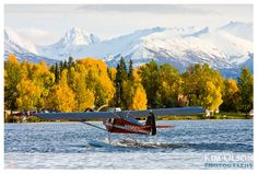 A float plane during our pretty fall in Anchorage, Alaska... This is a common occurrence here.