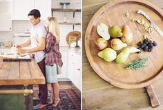 Love this shoot from Melissa Jill. Cooking at home engagement session.