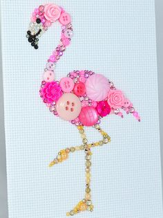 Button Art Pink Flamingo Vintage Button by PaintedWithButtons
