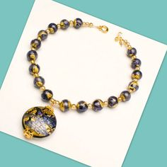 NECKLACE Deep Blue and Gold Foil Venetian Glass