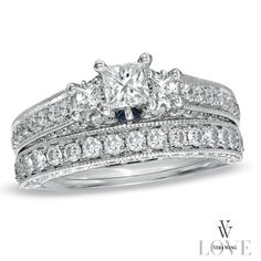 Vera Wang LOVE Collection 2-3/4 CT. T.W. Princess-Cut Diamond Three Stone Bridal Set in 14K White Gold