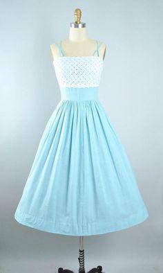 Vintage 50s Dress / 1950s Minx Modes Cotton Sundress Chambray