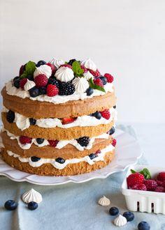 Eton Mess Cake & Naked hand decorated Victoria sponge cake | house ideas | Pinterest ...