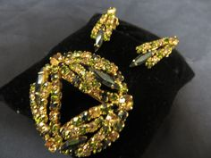 Vintage Rhinestone Set Brooch Earrings Clip Demi Parure Green Gold Emerald Olive #Unbranded