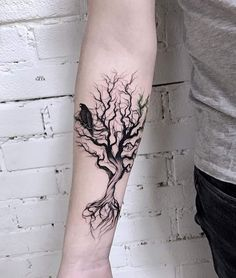 tree with a crow cool tattoo