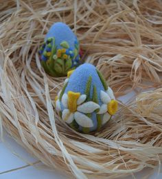 Easter Felted Eggs Easter Decorations Easter Gift Needle Felted Egg Needle…