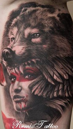 Wolf headdress tattoo girl