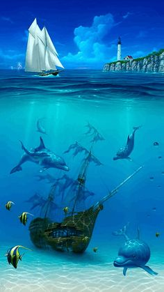 Sailboat painting: Artist David Miller, underwater shipwreck, Dolphin art and dolphin paintings by David Miller Ship Paintings, Seascape Paintings, Dolphin Art, Underwater Painting, Ocean Scenes, Sea Art, Fish Art, Live Wallpapers, Ocean Life