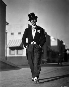 Fred Astaire Walking in Top Hat Premium Art Print