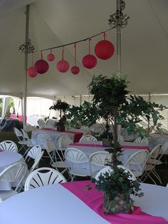 Wedding Tent Pole Fabric Decor with Lanterns