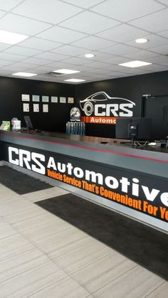 Our service counter at CRS Automotive Oakville 2219 Wyecroft Road Automotive Shops, Automotive Furniture, Automotive Industry, Mechanic Shop, Mechanic Garage, Car Workshop, Tyre Shop, Garage Interior, Repair Shop