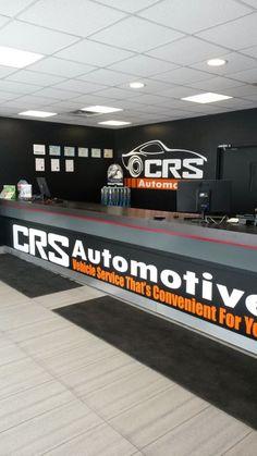 Our service counter at CRS Automotive Oakville 2219 Wyecroft Road Automotive Shops, Automotive Furniture, Automotive Industry, Mechanic Shop, Mechanic Garage, Car Workshop, Warehouse Design, Tyre Shop, Garage Interior