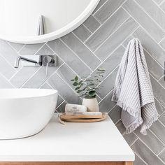 Grey herringbone tile bathroom wall - April 13 2019 at Bad Inspiration, Bathroom Inspiration, Bathroom Ideas, Bathroom Inspo, Bathroom Designs, Budget Bathroom, Bath Ideas, Bathroom Interior Design, Interior Inspiration