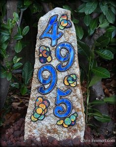 Mosaic House Numbers on Rock #garden #mosaic