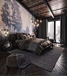 How do you like this bedroom design? A room should never allow the eye to settle in one place. It should smile at you and create fantasy home decor decoration salon decoration interieur maison Teenage Room Decor, Industrial Bedroom Design, Rustic Bedroom Design, Bedroom Designs, Modern Industrial, Rustic Modern, Bed Designs, Industrial Living, Modern Bohemian
