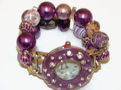 Eclectic Chunky Purple Beaded Watch  Interchangeable by BeadsnTime