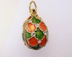 Faberge Eggs, Black Necklace, Swarovski Crystals, Christmas Bulbs, Plating, Carving, Bronze, Jewels, Pendant