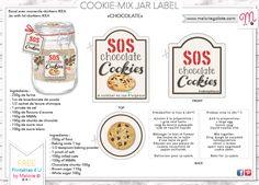 COOKIE JAR LABEL: SOS chocolate cookies<br><a href='wa_files/SOS_cookies_jar.pdf' target='_blank'>wa_files/SOS_cookies_jar.pdf</a> Kit Cookies, Cookies Et Biscuits, Jar Cookie, Sos Recipe, Chocolates, Jar Labels, Jaba, Chocolate Cookies, Diy Gifts