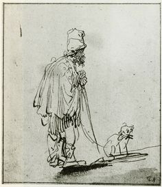 Blind man leaning on a stick Rembrandt