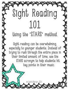 Sight Reading a helpful set of posters using the STARS method. Great for your classroom or studio! Violin Lessons, Music Lessons, Middle School Choir, Sight Singing, Vocabulary Practice, Reading Music, Music Classroom, Classroom Ideas, Singing Tips
