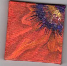 Orange Oriental Poppy Original mini  painting by SharonFosterArt, $22.00
