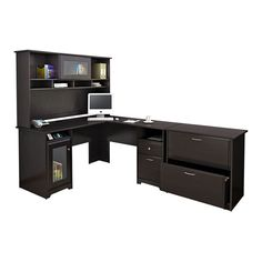 cabot lshaped desk with hutch u0026 lateral file in espresso