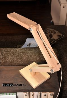 Wooden Articulating LED Desk Lamp #etsy #handmade #wood #lamp $117