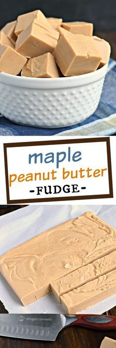 One bite of this smooth, creamy Maple Peanut Butter Fudge and you'll be taken back to your favorite vacation spot! Easy to make with no candy thermometer needed! (no bake treats peanut butter) Peanut Butter Fudge, Peanut Butter Recipes, Fudge Recipes, Candy Recipes, Sweet Recipes, Dessert Recipes, Icing Recipes, Maple Fudge, Shugary Sweets