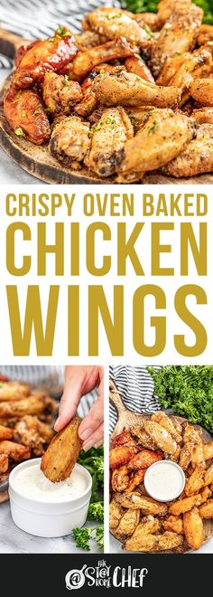 Make perfectly crispy Oven Baked Chicken Wings with this easy method, including seven different flavor options for wings everyone will love. #ovenbakedchickenwings #chickenwings Crispy Baked Chicken Wings, Crispy Oven Wings, Oven Baked Chicken Wings, Yummy Chicken Recipes, Delicious Recipes, Yummy Food, Appetizer Recipes, Appetizers, Food Dishes