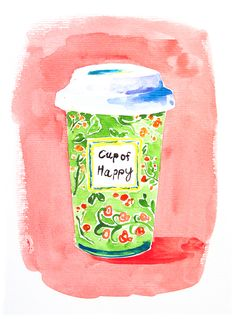 Coffee painting. Art for coffee lovers. Office painting. Happy art coffee. A cup of happiness. Gift for her. For best friend.Watercolour art