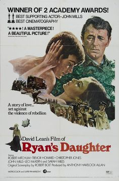 RYAN'S DAUGHTER (1970) - Robert Mitchum - Trevor Howard - Christopher Jones - John Mills - Leo McKern - Sarah Miles - Directed by David Lean - MGM - Movie Poster.
