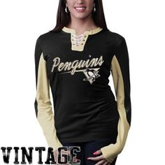 Old Time Hockey Pittsburgh Penguins Ladies Vintage Adina Lace-Up Long Sleeve T-Shirt - Black/Gold