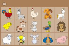 farm animals memory games - Buscar con Google