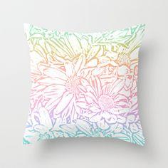 Daisy Daisy Pastel Rainbow Throw Pillow by Lisa Argyropoulos #pillow #throw #decor #rainbow #pastel #daisies #art #pretty #girly #cute #floral #flowers #home #apartment #bedroom #dorm