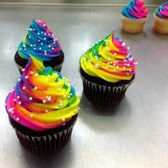 Rainbow cupcakes via me!