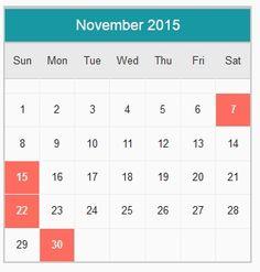 accounting calendar 2015