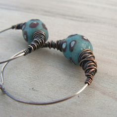 Ethnic Hoops ~ African Trade Beads and Sterling Silver by Gypsy Intent