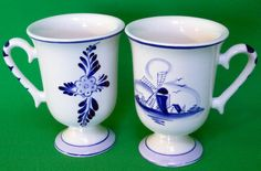 Matching Pair Of Hand-Painted Delft Blue Footed Coffee Mugs, Holland - $10.95