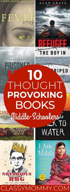 Check out our list of 10 Thought Provoking and Challenging Books Middle Schoolers will LOVE to Read. These books are EXCELLENT reads that are both entertai Good Books, Books To Read, Children's Books, Middle School Books, Kids Book Club, Historical Fiction Books, Books For Teens, Books For Teen Boys, Middle Schoolers