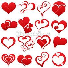 eenvoudige rood hart symboolset — Stockillustratie #19051469
