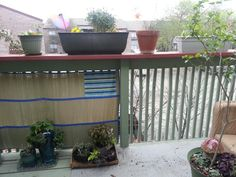Use A Cheap ($3) Picnic Mat And Zip Ties To Create Shade And Privacy For An Apartment  Balcony. Mine Came With A Sort Of Pocket (the Striped Part) Which I ...