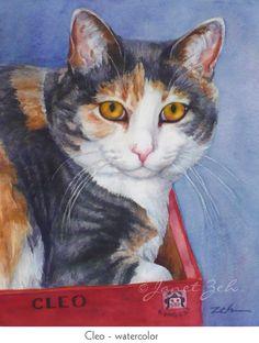 8x10 Custom Cat Portrait Watercolor or Oil Pet by JanetZeh on Etsy