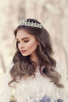quince hairstyles with crown - 30 Stunning Wedding Hairstyles Every Hair Length Sweet 16 Hairstyles, Quince Hairstyles, Elegant Hairstyles, Wedding Hairstyles With Crown, Crown Hairstyles, Bride Hairstyles, Bridesmaid Hairstyles, Elegant Wedding Hair, Wedding Hair And Makeup