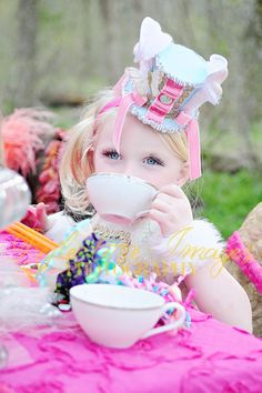 Featured in Child Style Magazine Mad Hatter by FairytaleJubilee, $45.00 little girl headpiece, dress, alice in wonderland