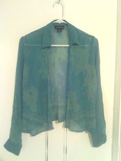 Size 10 Sheer Aqua Designs Long Sleeve Over Shirt With Tie String $10 @eBay