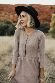 Zipper Front Purple Dress for Fall | ROOLEE