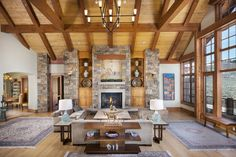 This living room is a craftsman dream. Its high ceilings, natural stone accents, and large windows make it easy to forget that you're actually indoors. Beautiful Interior Design, Beautiful Interiors, Home Interior Design, Interior Architecture, Craftsman Living Rooms, Craftsman Style Homes, Bookshelves Built In, Beautiful Living Rooms, Facade House